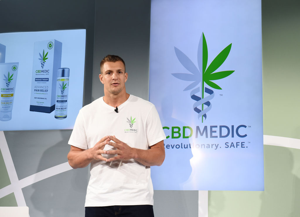 NEW YORK, NEW YORK - AUGUST 27: Rob Gronkowski at a press conference announced he is becoming an advocate for CBD and will partner with Abacus Health Products, maker of CBDMEDIC Topical Pain Products on August 27, 2019 in New York City. (Photo by Ilya S. Savenok/Getty Images for CBDMEDIC)